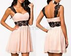 Fashion Womens Backless Radiant Lace Embellished Skater Low-Cut Slip Dress GBW