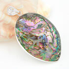 HUGE ! Natural Handmade Jewelry Abalone Shell Gemstone Silver Pendant 2 3/4 ""