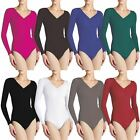 LADIES V NECK BODYSUIT WOMENS LONG SLEEVE SEEMLESS LEOTARD TOPS UK SIZE 8-18