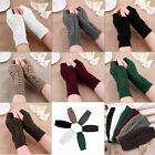 Ladies Winter Unisex Arm Warmer Elbow Long Fingerless Mitten Knit Gloves