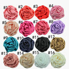 ✿ Large Ruffled 7cm Fabric Rose Flower Hair Clip Grip Slide Headpiece ✿ 16 cols