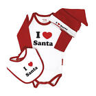 "Silly Souls Neutral 3 Piece ""I Love Santa"" Bodysuit, Cap, and Bib Gift Set"