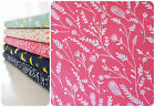 Dashwood Studio Cuckoos Calling 100% Cotton Fabric Pink Feathers Leaf Quilting