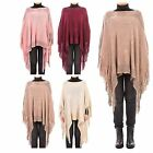 Hidden Fashion Womens Ladies Metallic Woven Knitted Fringe Tasselled Poncho Cape