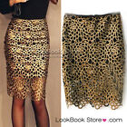 Women Party Sexy Cutout Gold Twist Crochet Bodycon Black Lining Short Midi Skirt