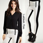 Women Colour Block Panel Black White Slim Thick Skinny Leggings Tights Legwear