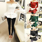 Women Sexy Fit-and-flare Ruffled Hem Zip Long Sleeves Off-Shoulder Top Tee Shirt