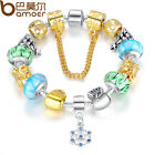 Bamoer DIY European Silver Charms BraceletS With Beads Bangle Jewelry For Women