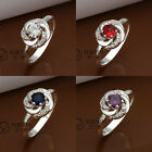 R334 Fashion Beautiful Jewelry 925 Sterling Silver Plated Finger Ring Size 8#