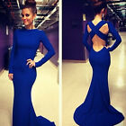 Sexy Women Long Sleeve Prom Ball Cocktail Party Maxi Dress Backless Evening Gown