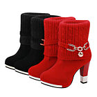 Womens High Heels Wedding Shoes Red Buckle Pull On Shoes Short Boots Free P&P