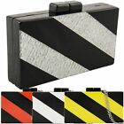 Ladies Designer Striped Monochrome Rigid Clutch Bag Evening Bag Handbag K30003