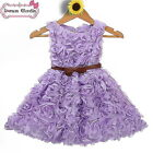 Rose Belted Baby Girls Wedding,Bridesmaid,Birthday Party Dress 2-8 Years