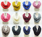 Fashion Women Girl Warm Infinity 2 Circle Cable Knit Cowl Neck Long Scarf Shawl