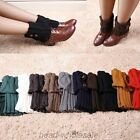 Women'S Winter Leg Warmers Boot Covers Button Crochet Knit Socks Toppers Cuffs
