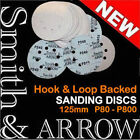 "5"" HOOK & LOOP DISCS VELCRO BACKED SANDING DISCS WHEELS PAD ORBITAL SANDER 125mm"