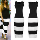 Women's Maxi Zebra Stripe Long Evening Party Bodycon Cocktail Vest Dress