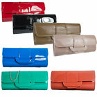 New Patent Clutch Bag Glossy Evening Wedding Pleated Navy Nude Black Blue