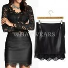 Fashion Womens Sexy Lace Faux Leather Patched Solid Color Package Hip Skirt SOZ