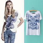 Fashion Women Ladies Vintage Print Short Sleeve Casual Loose T shirt Tops Blouse
