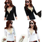 Sexy Ladies Long Sleeve Lace Floral Embroidery Tops Shirt T Shirt Blouse Top