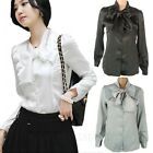 Boho Ribbon ladies Tie Neck Shirt Top Button Office Womens NEW US sz 2-4