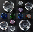 Glass Crystal Heart in Gift Box Choose Message or Plain Clear Pink Blue Red D01