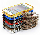 Aluminum Metal Bumper Frame Trigger Case with Strap Outdoor For iPhone 5S 5 4S 4