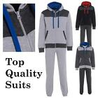 Mens Double Contrast jogging suit Tracksuit Hooded Bottoms Top Fleece S M L XL