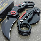 BLACK KARAMBIT SPRING ASSISTED POCKET KNIFE Tactical Open Folding Claw Blade NEW