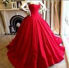 2018 Elegant Ball Gown Wedding Dresses Gothic Red Satin Bridal Gown Custom Made