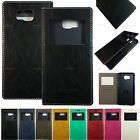 Buffalo leather Window View Flip Case Cover For Samsung Galaxy Various Phones