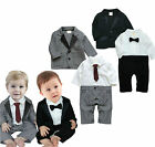 Baby Boy Wedding Tuxedo Suit, Black Grey Jacket Formal Pageant Party Set 0-24M