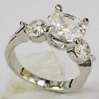 925 Silver Glod Filled White Sapphire 4.2ct silver Ring Size6-size9 wedding gift