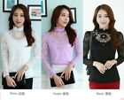 Winter Fashion Women Slim Fit Long Sleeve Stand Collar Lace New Blouse Shirt Top