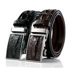 Men Casual Vintage Cowhide Leather Crocodile Embossed Automatic Buckle Belt