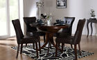 Dark Hudson & Bewley Round Extending Dining Table and 4 6 Chairs Set (Brown)