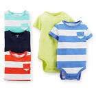 Carter's Boys 5 Pack Short Sleeve Striped Bodysuits in Assorted Colors