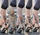 New Women Rose Totem Dragon Skull Tattoo Socks Sheer Pantyhose Stockings Tights