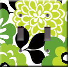 Light Switch Plate Cover - Floral modern design green - Flowering beautiful look