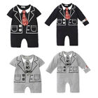 Baby Boy Smart Casual Babygrow Jumpsuit, Funny Tie 0 3 6 12 24 Months Grey Black