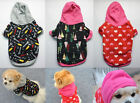 NEW Lovely Puppy Dog Cat Pet Clothes Winter Warm Printing Coat With Hat Hooded