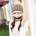 NEW Womens Knit Crochet Beard Beanie Mustache Face Mask Ski Snow Warmer Hat Cap
