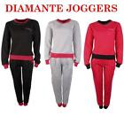 Ladies Womens Soft Tracksuit Diamante Sweatshirt Top Full Suit Bottoms Joggers