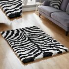 NEW LARGE MEDIUM BLACK WHITE ZEBRA RUGS SHAGGY RUGS MATS CARPETS FOR SALE ONLINE