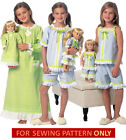 SEWING PATTERN! MAKE MATCHING NIGHTGOWN~PJ FOR GIRL~DOLL~FIT AMERICAN GIRL LANIE