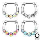 1pc Five Gem Septum Clicker 316L Surgical Steel 16 gauge Nose Ring