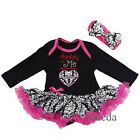 Valentine's Day Baby Daddy+Me Damask Hot Pink Bodysuit Tutu Party Dress Romper