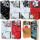 NEW 3D BLING DIAMOND LEATHER FLIP WALLET CASE COVER FOR APPLE iPHONE 5C