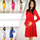 HOT Sexy Women's Candy Color Maternity Dress Tunic Short Sleeve V-Neck Stretchy